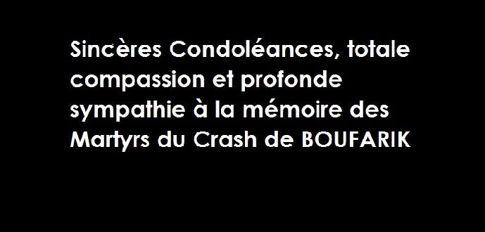 "Condoléances ""Martyrs du Crash de BOUFARIK"""